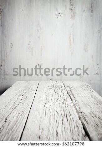 Old empty wooden table