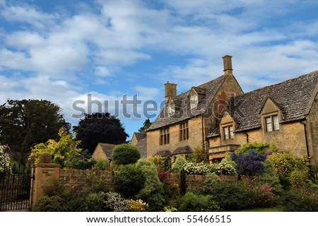Old English cottage - stock photo