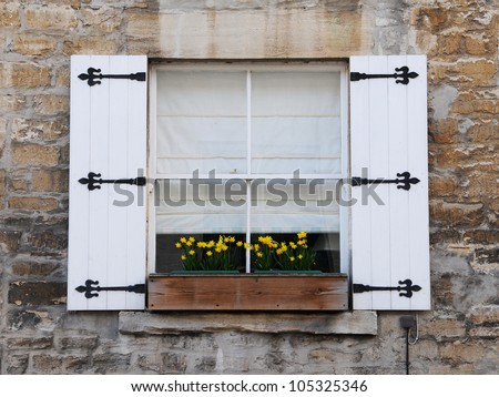 Old english cottage sash window shutters stock photo royalty free old english cottage sash window with shutters and flower box sisterspd