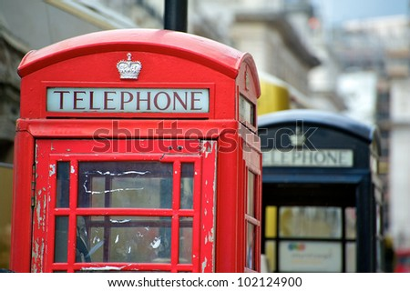 Old English Phone Boxes. London - stock photo