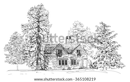 Old English Stone Cottage In The Forest Sketch Collection