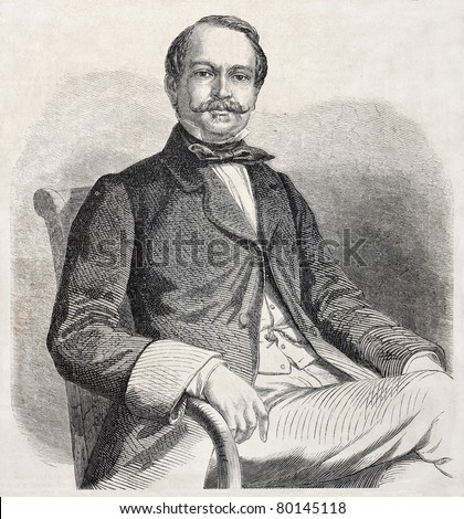 Old engraved portrait of Constant Fornerod, Swiss politician. Created by Marc after painting of Morris, published on L'Illustration Journal Universel, Paris, 1857 - stock photo