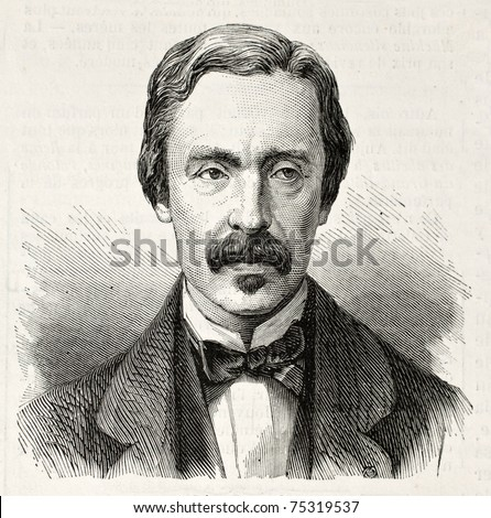 Old engraved portrait of Jean Bernanrd Leon Foucault, French physicist and astronomer. Created by Chenu, published on L'Illustration, Journal Universel, Paris, 1868 - stock photo