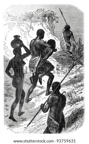 Old engraving of tribal chief on the way. Created by Neuville, published on Travel to upper reaches of the Nile and exploration of its sources by Sir Samuel White Baker, Moscow, 1868 - stock photo