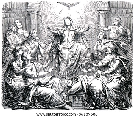"Old engraving. Pentecost. The book ""History of the Christian Religion"", 1880"