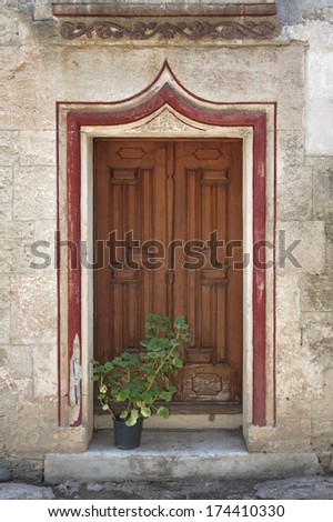 old entrance of a house in Bodrum Turkey - stock photo