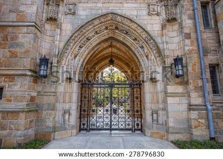 Old entrance of Yale university buildings in New Haven, CT USA