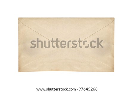Old envelope isolated on a white