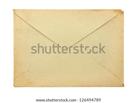 Old envelope isolated on a white background