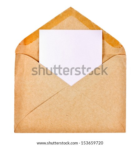 Old envelope isolated on white background - stock photo