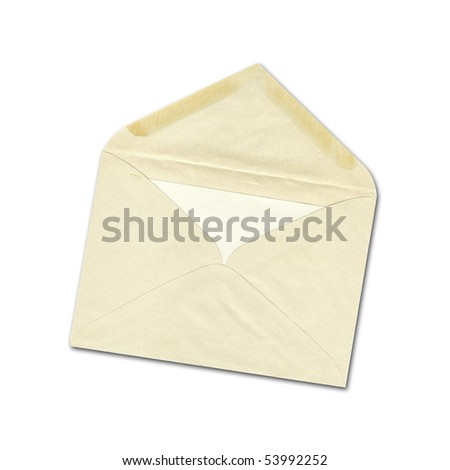 Old envelope with letter inside isolate in white - stock photo