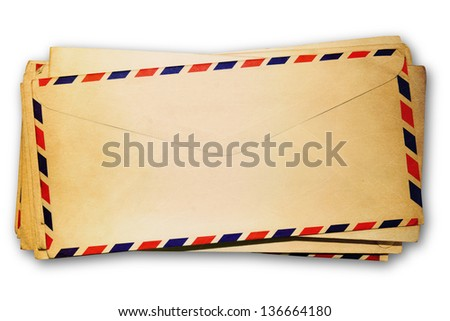 old envelopes on white background.