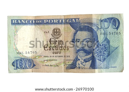 Old 100 Escudo bills from Portugal isolated on white. - stock photo