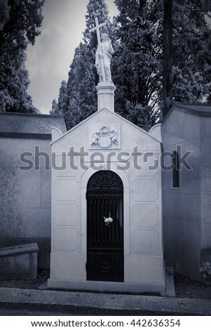 Old European cemetery. Black and white infrared. Toned blue. - stock photo