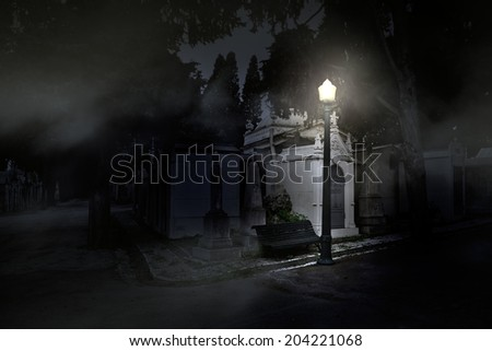 Old european cemetery illuminated by a street lamp in a foggy night - stock photo