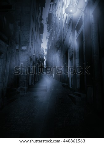 Old European narrow street in a foggy dawn (personal perspective)