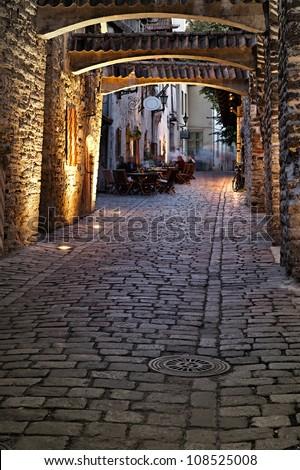Old european street. Estonia, Tallinn - stock photo