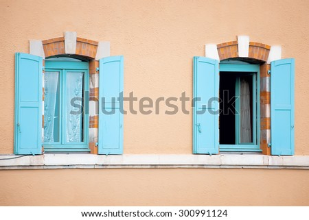 old european wooden colorful window - stock photo