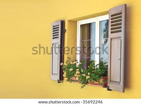 old European Wooden Window - stock photo