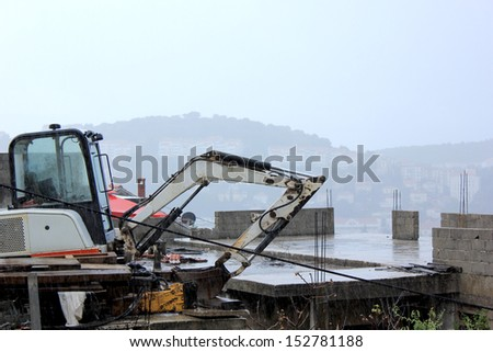 old excavator digger - stock photo