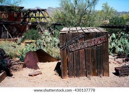 Old explosives wooden storage shed from closed mine - stock photo