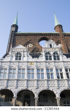 old facade in luebeck, germany