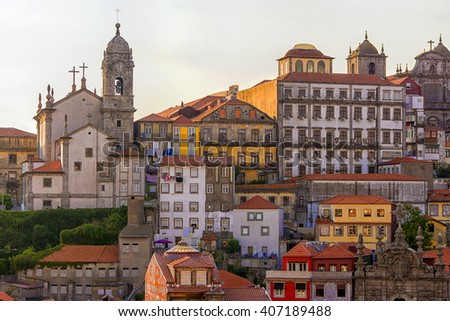 old facades of the city of Porto - stock photo