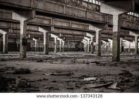 Old factory buildings, spacious workshop - stock photo