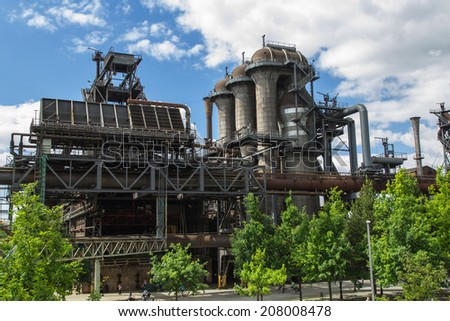 Old factory today as a monument and park - stock photo