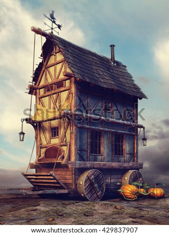 Old fairytale house with pumpkins and lamps. 3D illustration.