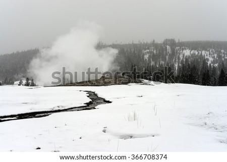 Old Faithful Geyser erupting in winter snow - stock photo
