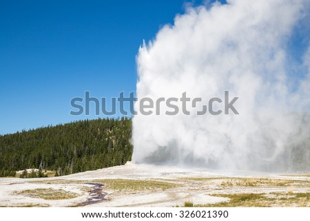 Old Faithful geyser eruption into Yellowstone National Park, USA