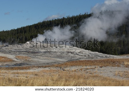 Old Faithful Geyser in Yellowstone National Park beginning to Erupt