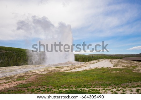 Old Faithful geyser. Yellowstone National Park. Wyoming. USA. Geysers.