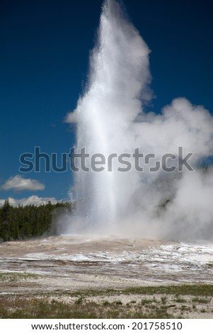Old Faithful in the Yellowstone National park, Wyoming, USA