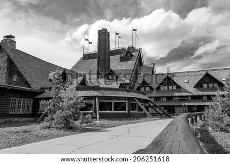 Old Faithful Inn Yellowstone in black and white - stock photo