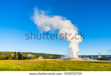 Old faithful on the morning,summer, in Yellowstone National park,Wyoming,usa. - stock photo