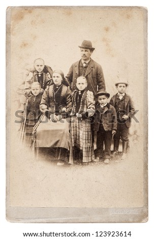 old family photo. parents with five children. nostalgic vintage picture - stock photo