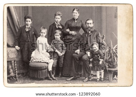 old family photo. parents with five children. nostalgic vintage picture. Vienna 1885 - stock photo
