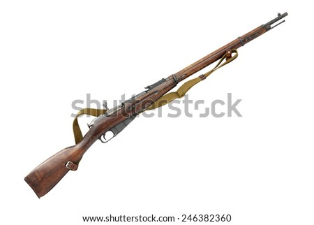Old famous Russian rifle isolated on white background with clipping path - stock photo