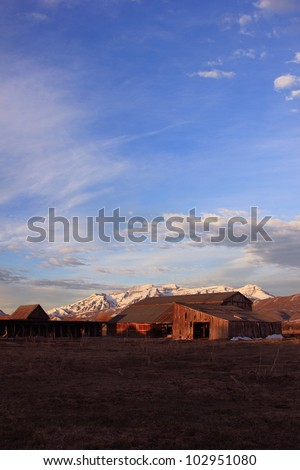 Old farm buildings in rural Utah.
