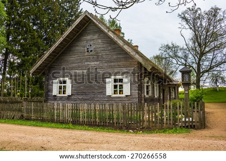Old farm house in Lithuania - stock photo