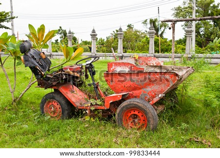 Old farm machinery equipment - stock photo