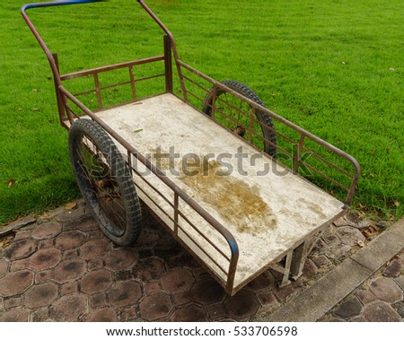 Old farm steel cart in Thailand