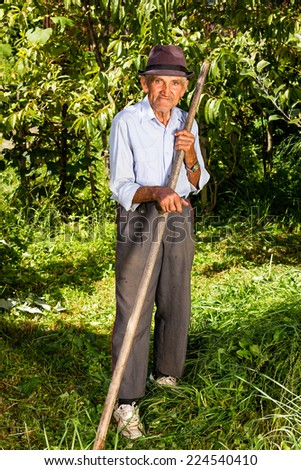 Old farmer using scythe to mow the grass traditionally - stock photo