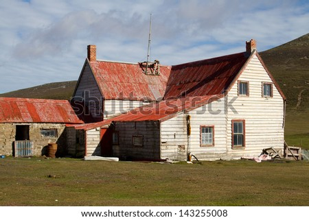 Old Farmhouse on Falkland Islands - stock photo
