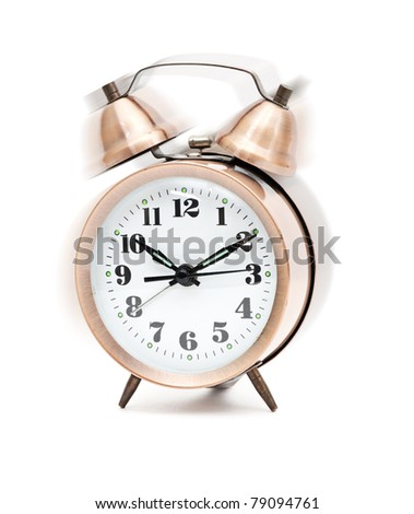 Old-fashion alarm clock ringing, shaking