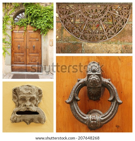 old fashion doorway details collage, Tuscany - stock photo