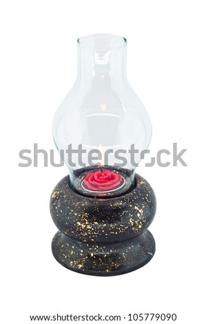 Old fashion lantern isolated. - stock photo