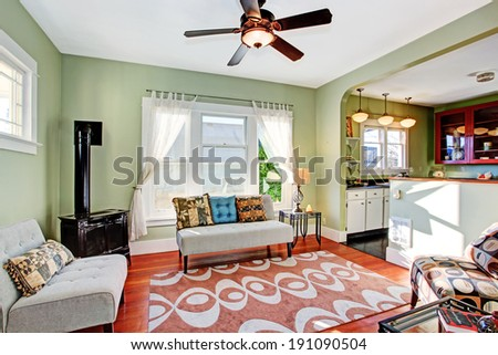Old fashion living room with antique stove. - stock photo